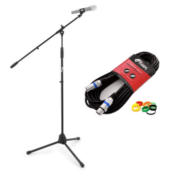 Tiger Boom Microphone Stand & 3m XLR/XLR Microphone Cable Pack