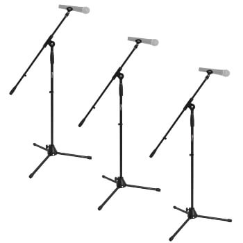 Tiger Pack of 3 Boom Tripod Microphone Stands