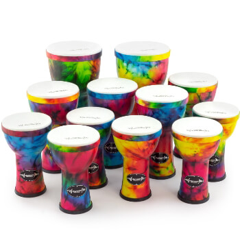 World Rhythm Pre-Tuned Djembe 12 Pack Ideal for Primary Schools and Drum clubs