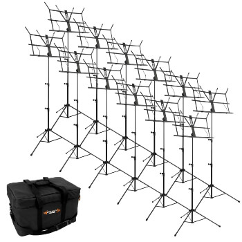Tiger Pack of 12 Black Portable Folding Music Stands & Carry Bag