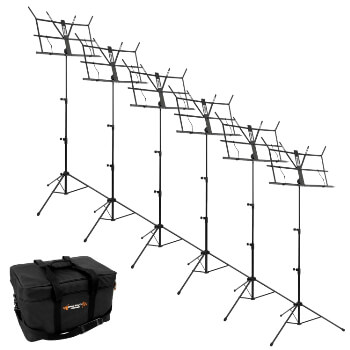 Tiger Pack of 6 Black Portable Folding Music Stands & Carry Bag