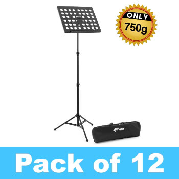 Tiger Pack of 12 Lightweight Music Stands with Bags