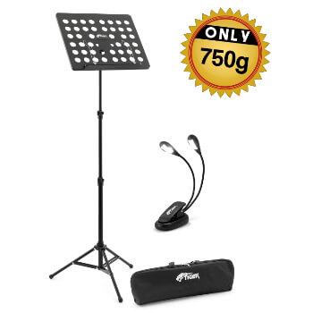 Tiger Lightweight Music Stand & 4x LED Music Light Pack with Bag