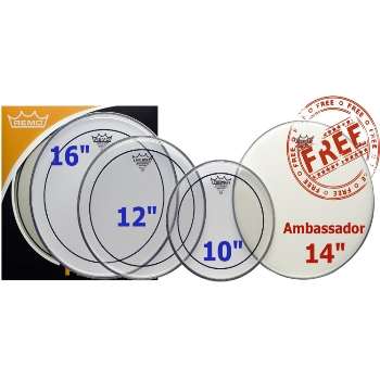 Remo ProPack Pinstripe Drum Head Pack With Ambassador 14