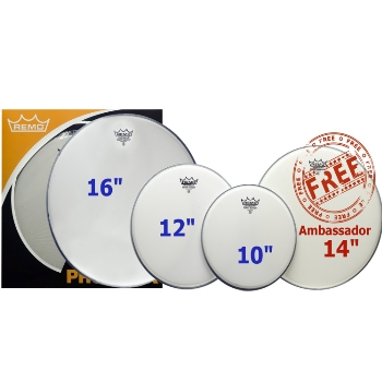 Remo ProPack Emperor Drum Head Pack With Free Ambassador 14