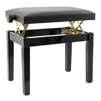 Tiger Adjustable Piano Stool Bench - Classic Black