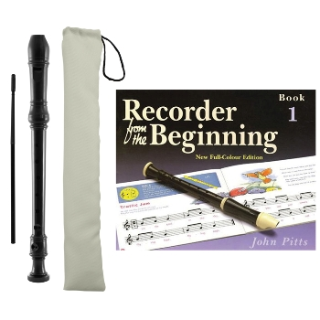 Tiger Descant Recorder with Case and Recorder from the Beginning Book 1 Package