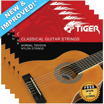 Tiger Classical Guitar Strings Normal Tension with Free High E String – 5 Pack