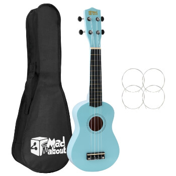 Mad About SU8 Soprano Ukulele - Light Blue with Bag, Felt Pick, Spare Strings