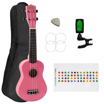 Soprano Ukulele for Beginners in Pink with Uke Bag & Tuner