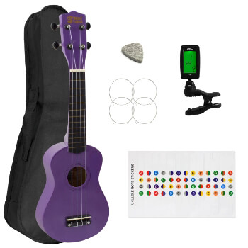 Soprano Ukulele for Beginners in Purple with Uke Bag & Tuner