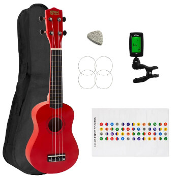 Soprano Ukulele for Beginners in Red with Uke Bag & Tuner