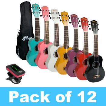 Tiger Pack of 12 Soprano Ukuleles With 2 Tuners