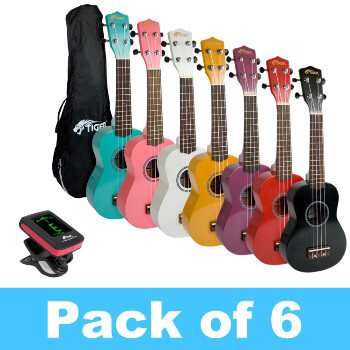 Tiger Soprano Ukulele - Pack of 6 - Free Tuner Included