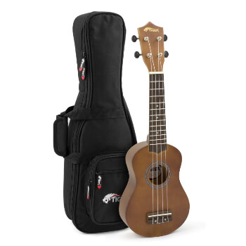 Tiger Natural Soprano Ukulele with Padded Carry Bag