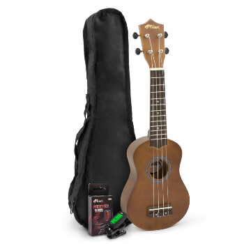 Tiger Natural Beginner Soprano Ukulele with Bag & Chromatic Tuner