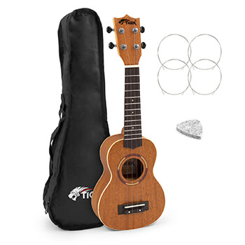 Tiger Mahogany Body/Top Soprano Ukulele with Gig Bag