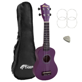 Tiger Beginners Left Handed Soprano Ukulele in Purple with Bag