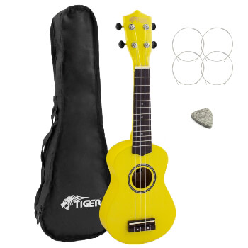 Tiger Beginners Left Handed Soprano Ukulele in Yellow with Bag