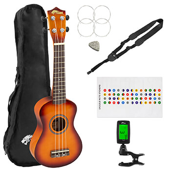 Tiger Sunburst Soprano Ukulele Pack for Beginners - Tuner, Strap, Gig Bag, Felt Pick, Spare Strings