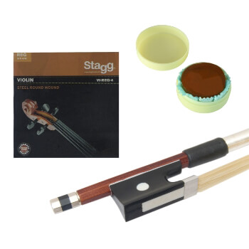 Theodore 4/4 Size Standard Violin Bow, Rosin & String Set Pack
