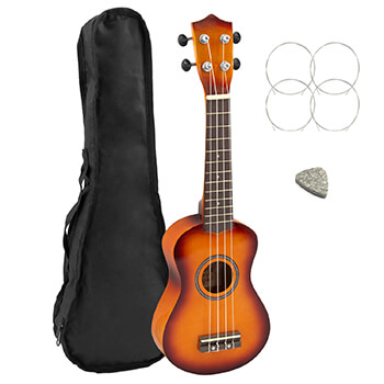 Natural Soprano Starter Ukulele with Padded Gig Bag – School Starter Pack