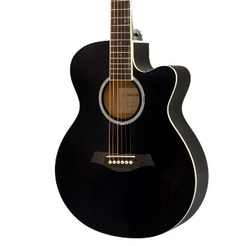 3/4 Acoustic Guitar by World Rhythm –Small Body Guitar for Beginners - Black