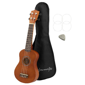 Soprano Ukulele by World Rhythm – Soprano Uke and Gig Bag with Natural Finish