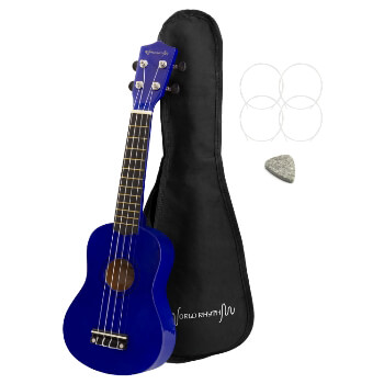 Soprano Ukulele by World Rhythm – Soprano Uke and Gig Bag with Blue Finish