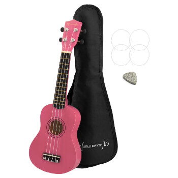 Soprano Ukulele by World Rhythm – Soprano Uke and Gig Bag with Pink Finish