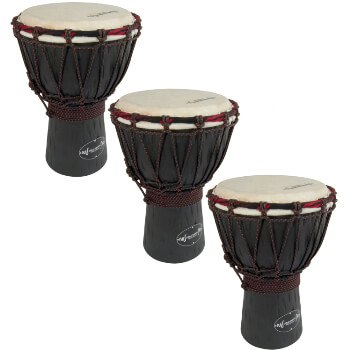 World Rhythm 3 Pack of 30cm Wooden Djembe Drums - 6