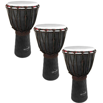 World Rhythm 3 Pack of 50cm Wooden Djembe Drums - 9