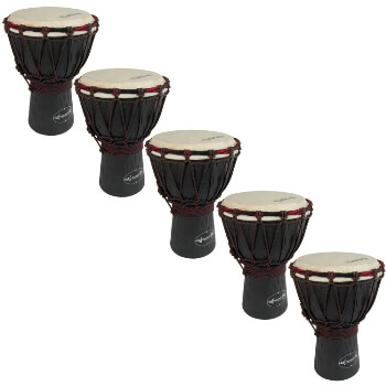 World Rhythm 5 Pack of 30cm Wooden Djembe Drums - 6