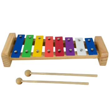World Rhythm Glockenspiel Xylophone for Kids - 8 Multi Coloured Keys