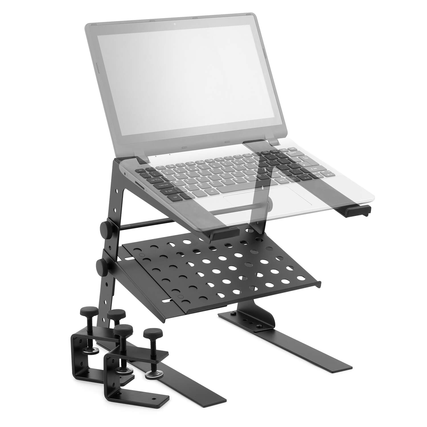 Tiger-Laptop-Stand-DJ-Stand-with-Shelf-and-Desktop-Clamps